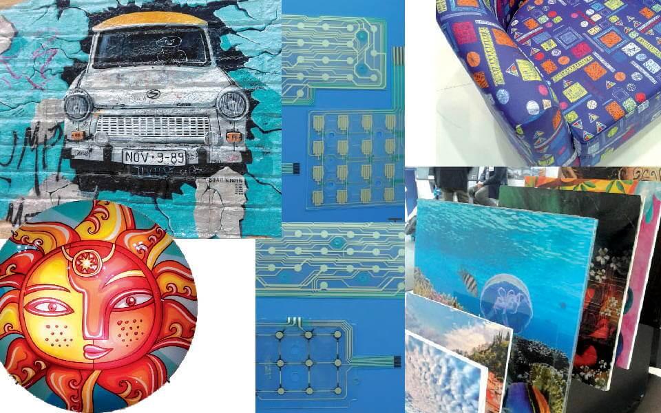 Esempi multipli di stampa industriale, dalla carta da parati al tessile fino al functional printing e al printed electronics