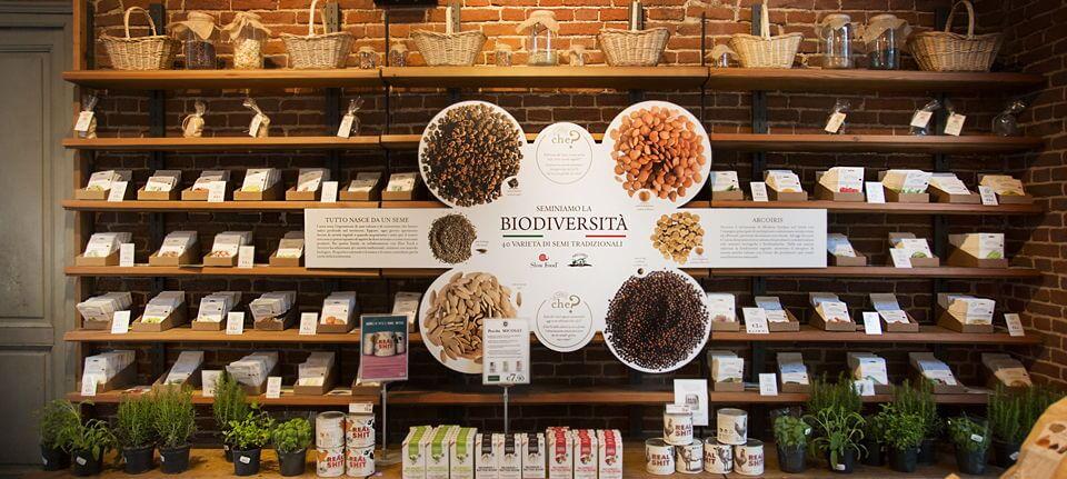 Uno dei reparti dei negozi Eataly, dedicato alla Biodiversità