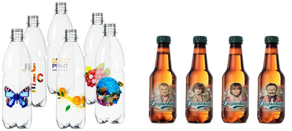 Alcuni esempi di stampa direct-to-shape. Le bottiglie presentano etichette personalizzate realizzate con stampa diretta.