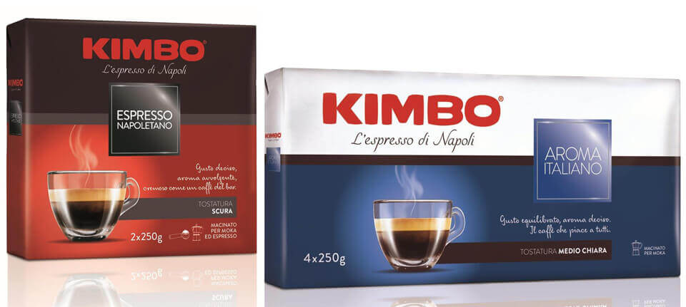 Le nuove confezioni della linea Moka di Kimbo si contraddistinguono per l'uso di colori e grafici - a differenziare e illustrare gli aromi - e per i testi dedicati ai profili sensoriali delle miscele.