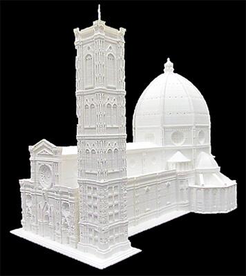 Modellino tridimensionale della cattedrale di Santa Maria del Fiore a Firenze, realizzato con sistemi Olivetti.