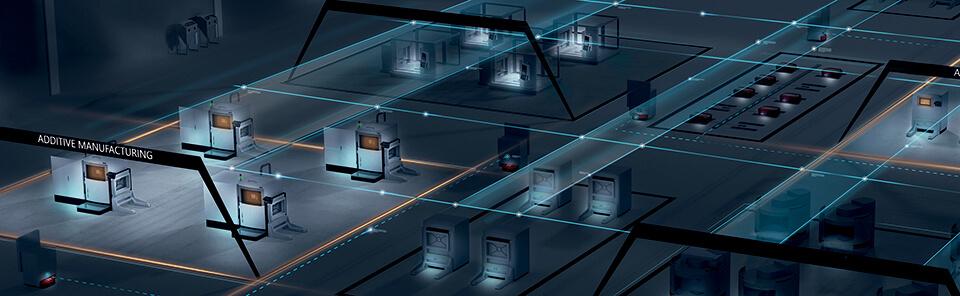 Schema di un sito produttivo AM smart e interconnesso. (fonte: EOS )